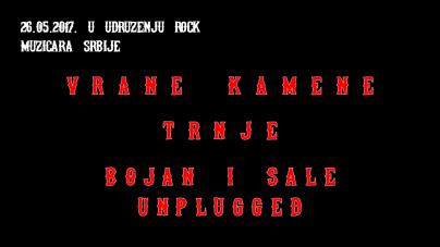 Vrane Kamene, Trnje i Bojan & Sale Unplugged večeras u Udruženju rok muzičara Srbije