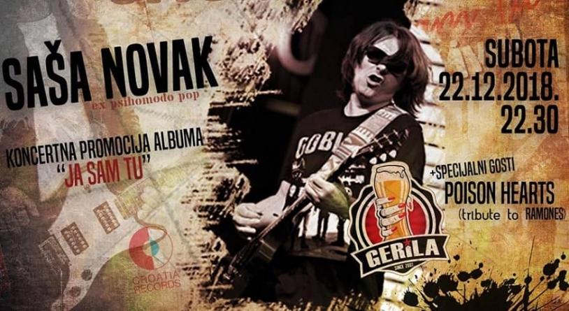 Koncertna promocija albuma 'Ja sam tu' Saše Novaka 22.12. u novosadskoj Gerili