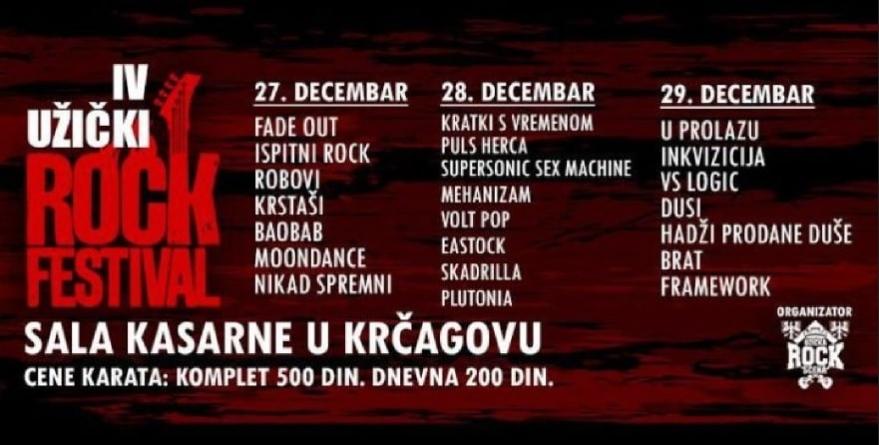4. Užički Rok Festival 27. 28. i 29. decembra u Krčagovu