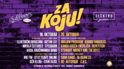 ZA KOJU – koncerti podrške u Beogradu – u SubBeernom Centru i klubu Elektropionir 18. i 26. oktobra