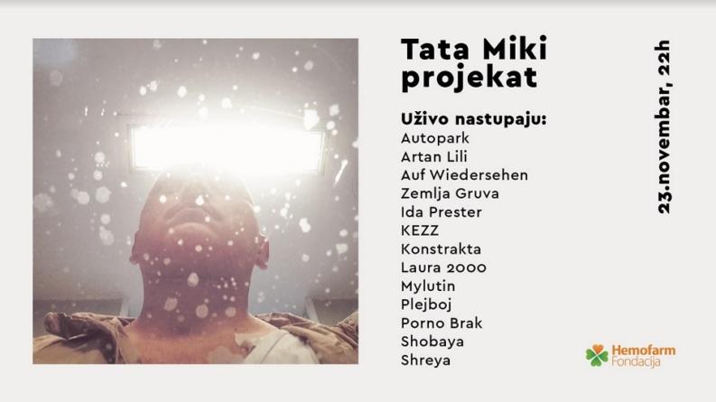 Humanitarni koncert 'Tata Miki projekat' u subotu u KC Grad